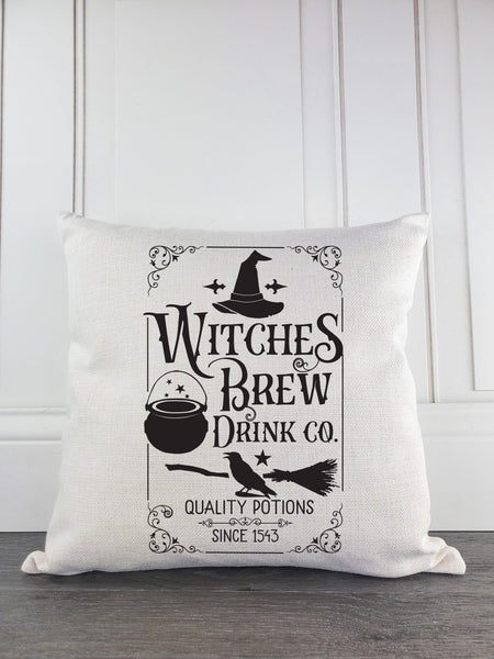 Witches Brew Rustic Farmhouse Halloween Throw Pillow - Incandescently