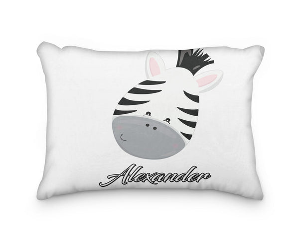 Zebra Head Personalized Pillowcase - Incandescently - Glitter Sparkle Throw Pillows - Farmhouse Decor