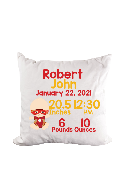 Superhero Iron Birth Stat Throw Pillow - Incandescently - Glitter Sparkle Throw Pillows - Farmhouse Decor