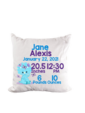 Dinosaur Triceratops Blue Birth Stat Throw Pillow - Incandescently - Glitter Sparkle Throw Pillows - Farmhouse Decor