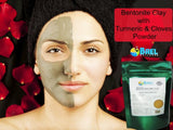 Bentonite Clay with Turmeric & Cloves Powder. Indian Healing Clay, Fullers Earth Powder for Facial Mask, Hair, Bath & Spa