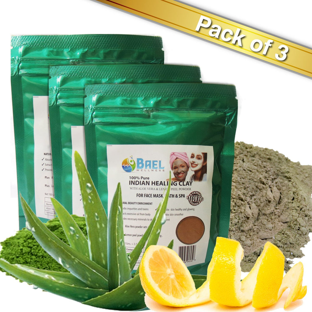 Bael Wellness Clay Mask (Pack of 3) Bentonite/Aloe Vera/Lemon Peel Powder