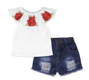 GIRLS DENIM ROSES
