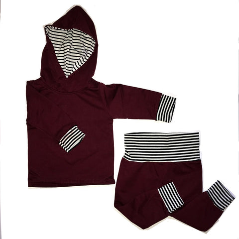 Boys Maroon + Striped Sweatsuit