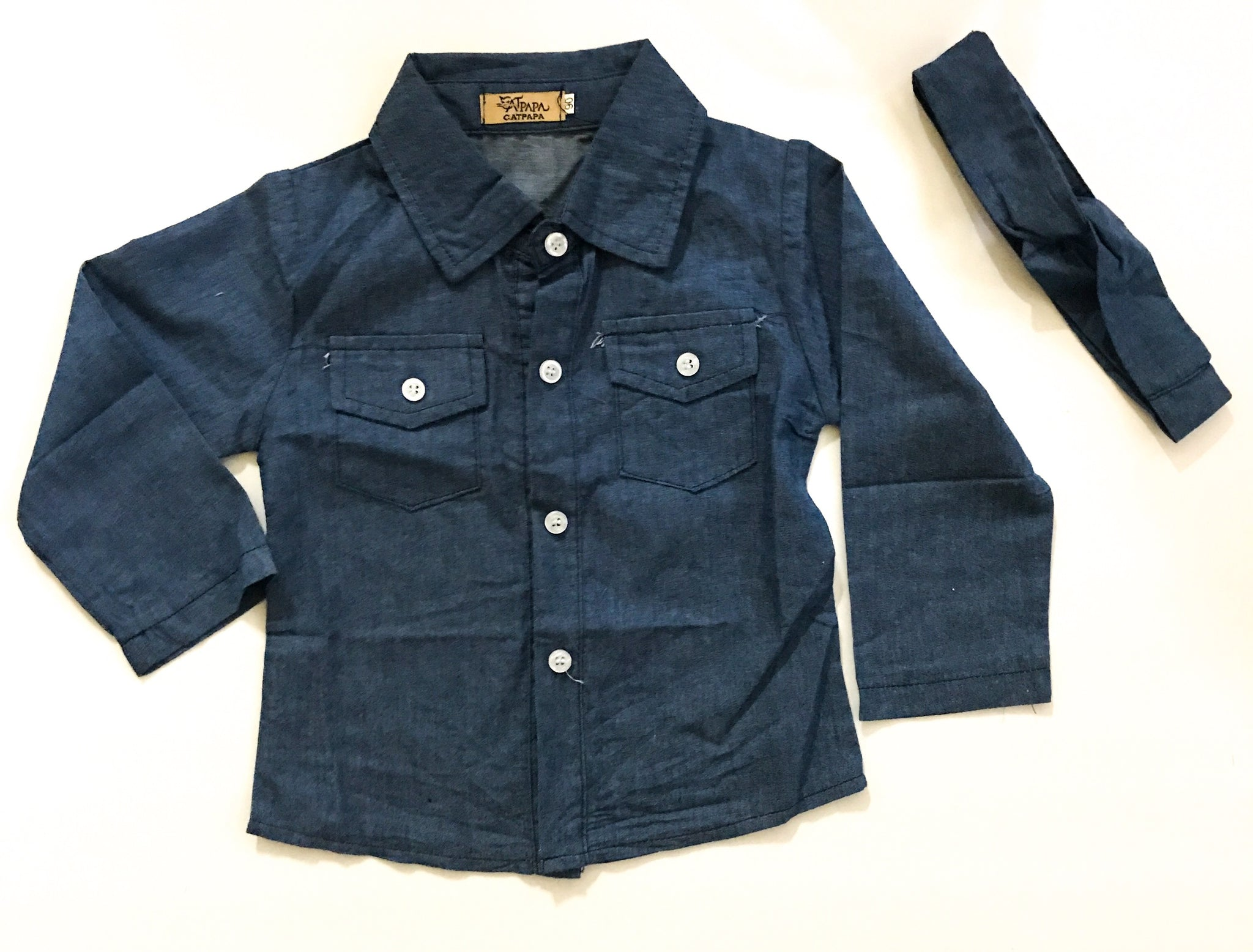 Girls Denim Button Up w/ Headband