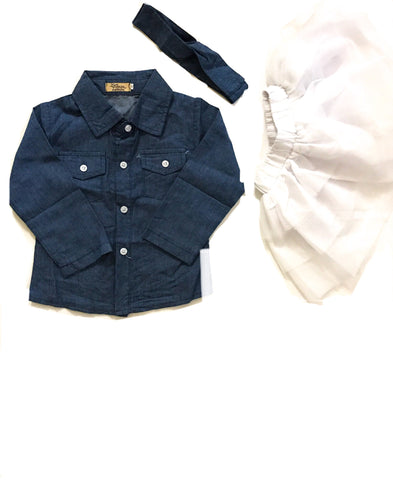 Girls 3-Piece Set Denim Button Up & Tutu w/ Headband