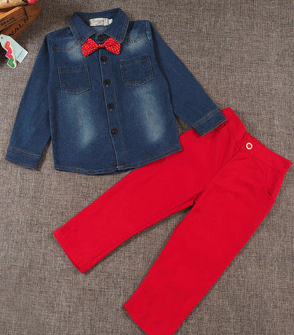 BOYS DENIM/RED 3-PIECE SET