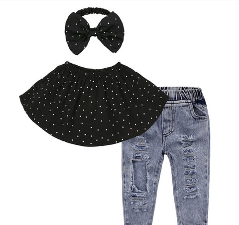 GIRLS 3-PIECE DISTRESS/POLKA DOT SET