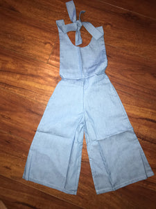 GIRLS DENIM WIDE LEG JUMPER