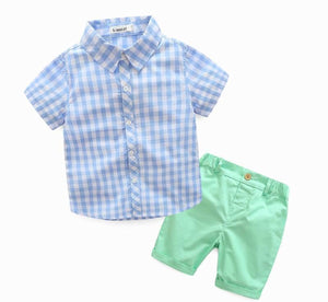 BOYS PLAID SHORT SET