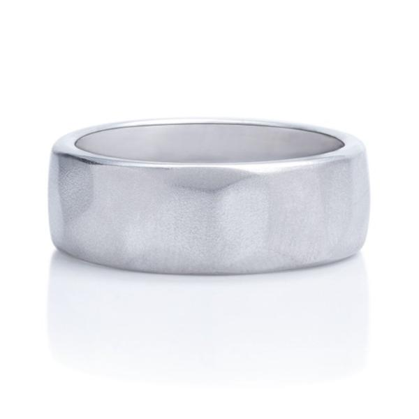 Grey Gold Faceted Men's Band - Charles Koll Jewellers