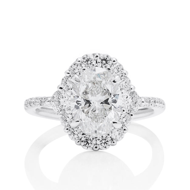 Oval Diamond Halo Engagement Ring - Charles Koll Jewellers