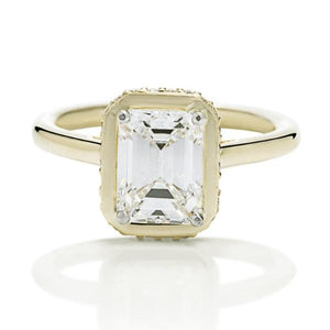 Emerald Diamond Contemporary Engagement Ring - Charles Koll Jewellers