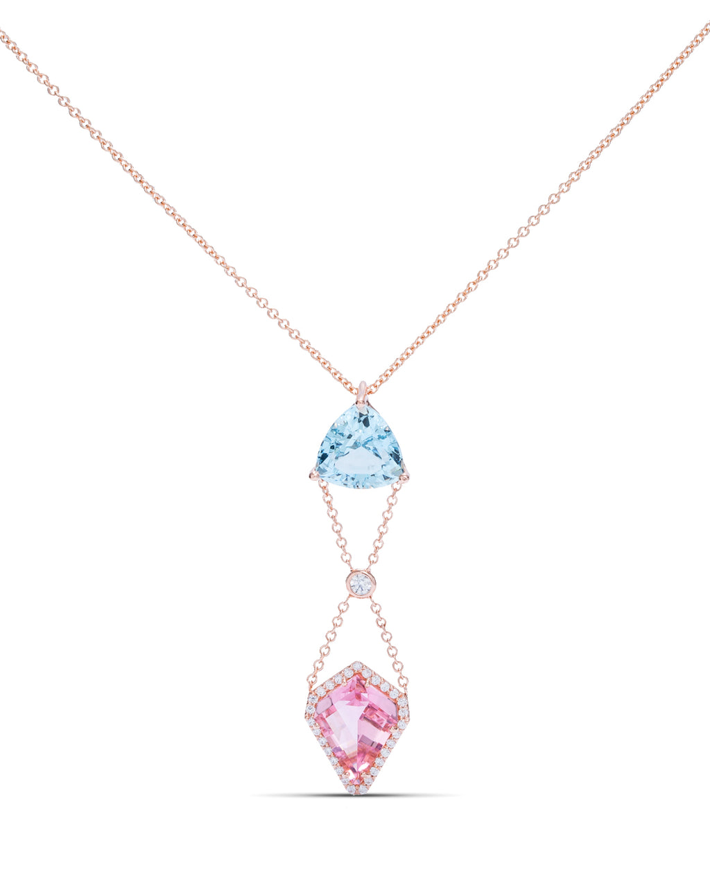 Aquamarine and Pink Tourmaline Pendant