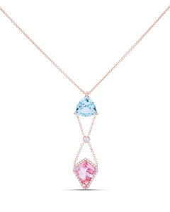 Aquamarine and Pink Tourmaline Pendant - Charles Koll Jewellers
