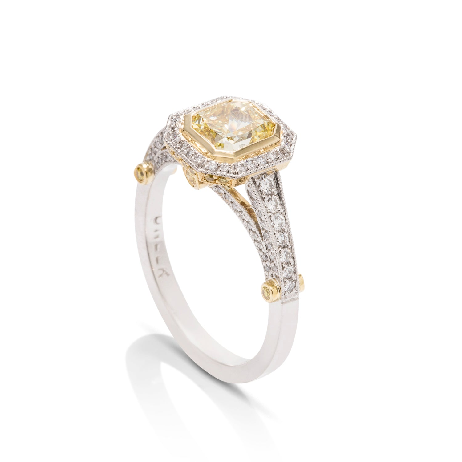 Fancy Yellow Radiant Diamond Engagement Ring - Charles Koll Jewellers