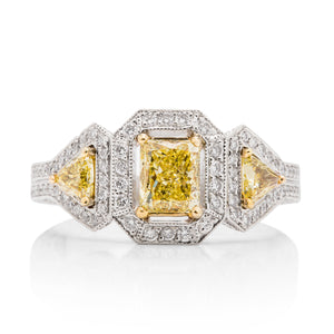 Fancy Yellow Diamond Three Stone Engagement Ring - Charles Koll Jewellers