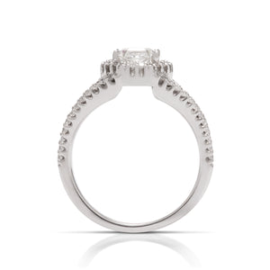Hexagonal Halo Diamond Engagement Ring - Charles Koll Jewellers