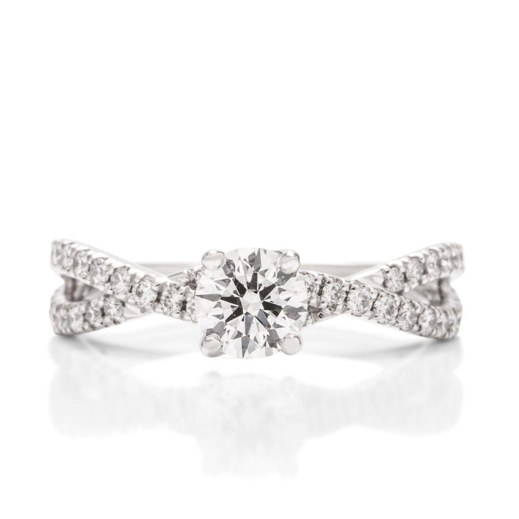 Twisted Diamond Band Engagement Ring