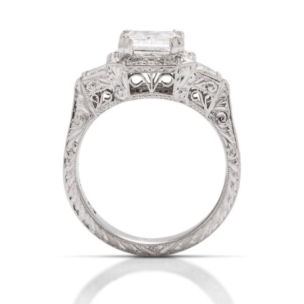 Round Center Three Stone w Hexagonal Halo - Charles Koll Jewellers