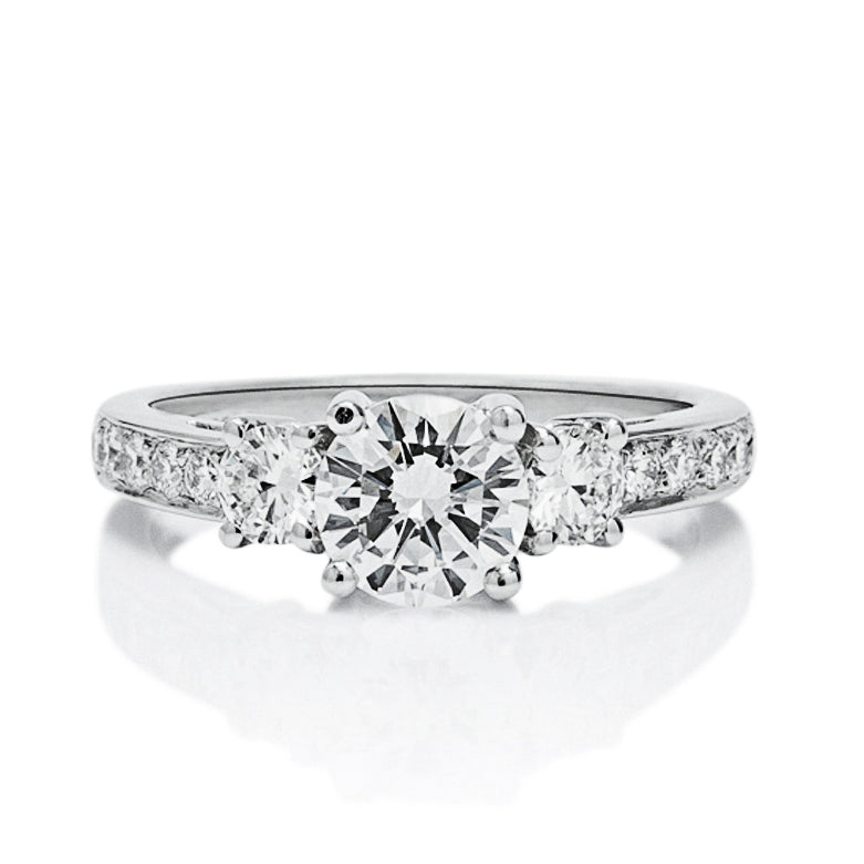 Round Three Stone Engagement Ring - Charles Koll Jewellers