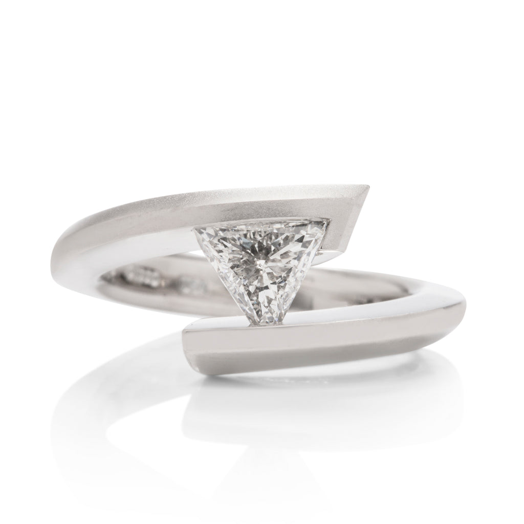 Trillion Tension Set Diamond Engagement Ring - Charles Koll Jewellers
