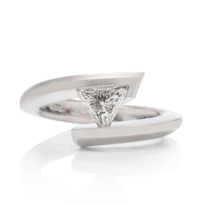 Trillion Tension Set Diamond Engagement Ring