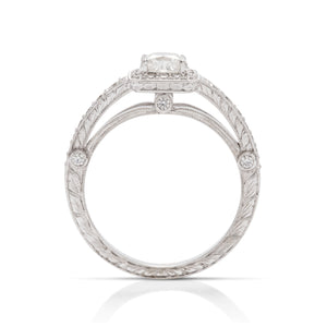 White Gold Diamond Cushion Halo Engagement Ring