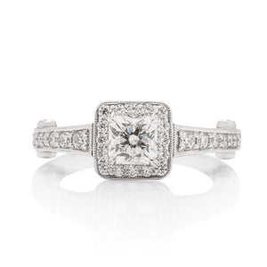 White Gold Diamond Cushion Halo Engagement Ring - Charles Koll Jewellers