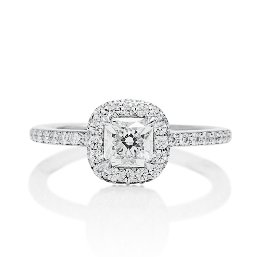 Cushion Cut Halo Engagement Ring - Charles Koll Jewellers