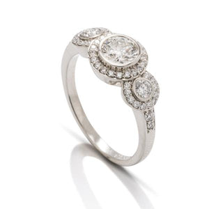 Round Three Stone Halo Engagement Ring - Charles Koll Jewellers