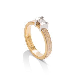 George Sawyer Design Mokume Gane 18k Gold & Platinum Diamond Ring - Charles Koll Jewellers