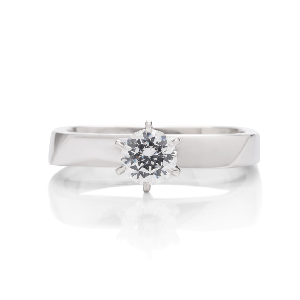 18k White Gold & Platinum Square Shank 6 Prong Engagement Ring - Charles Koll Jewellers
