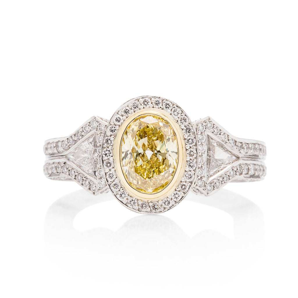 1.00 Carat Fancy Yellow Diamond Engagement Ring - Charles Koll Jewellers