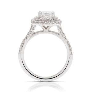 White Gold 1.50 Carat Radiant Diamond Engagement Ring