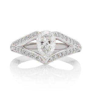 1.13 Carat Pear Shape Diamond Engagement Ring - Charles Koll Jewellers