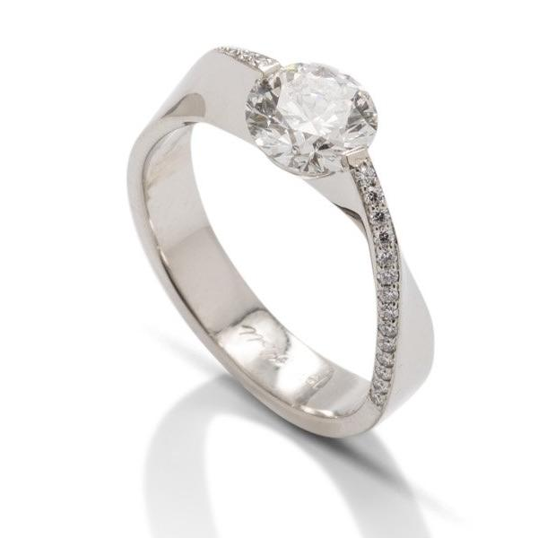 White Gold Mobius Engagement Ring - Charles Koll Jewellers