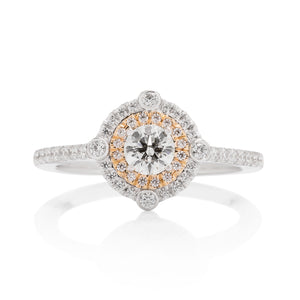 Compass Double Halo Diamond Engagement Ring - Charles Koll Jewellers