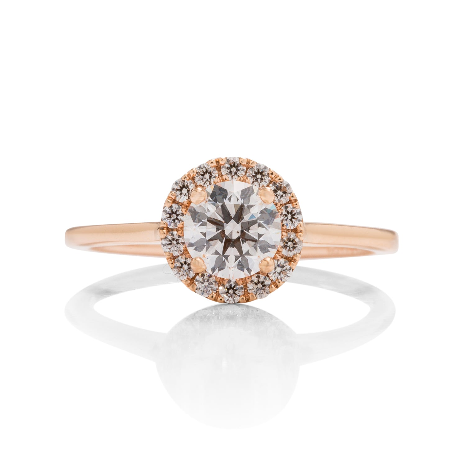 18k Rose Gold Diamond Halo Engagement Ring - Charles Koll Jewellers