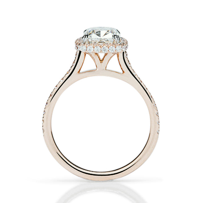 Thin Shank Double Halo Cushion Engagement Ring