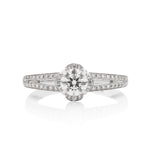 Split Shank Petal Halo Engagement Ring