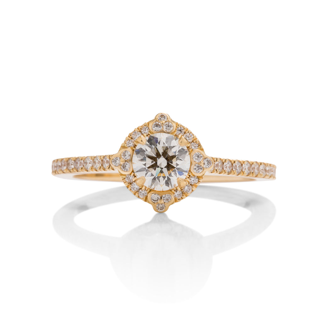 18k Gold Hearts on Fire Diamond Compass Halo Ring - Charles Koll Jewellers