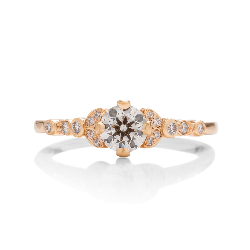 "18k Rose Gold ""Cali Chic"" Double Petal Bezel Hearts on Fire Diamond Ring - Charles Koll Jewellers"