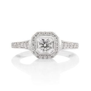 "Hearts on Fire 18k White Gold ""Deco Chic"" DRM Halo Diamond Ring - Charles Koll Jewellers"