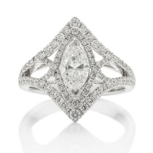 Marquise Twist Halo Engagement Ring - Charles Koll Jewellers