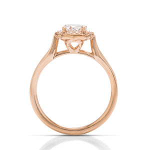 Oval Halo Rose Engagement Ring