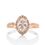 Oval Halo Rose Engagement Ring - Charles Koll Jewellers