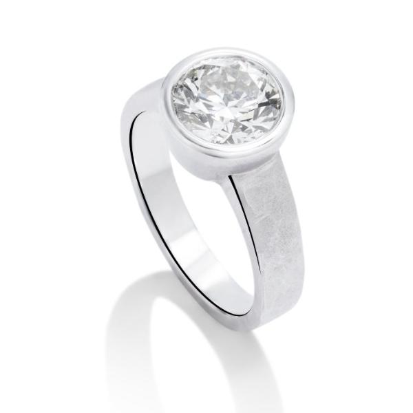 Hammered Bezel Set Engagement Ring - Charles Koll Jewellers