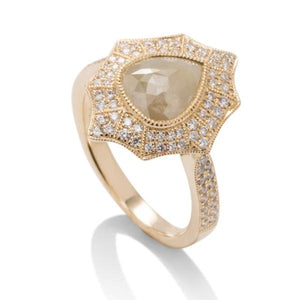 Organic Diamond and Milgrain Yellow Gold Ring - Charles Koll Jewellers
