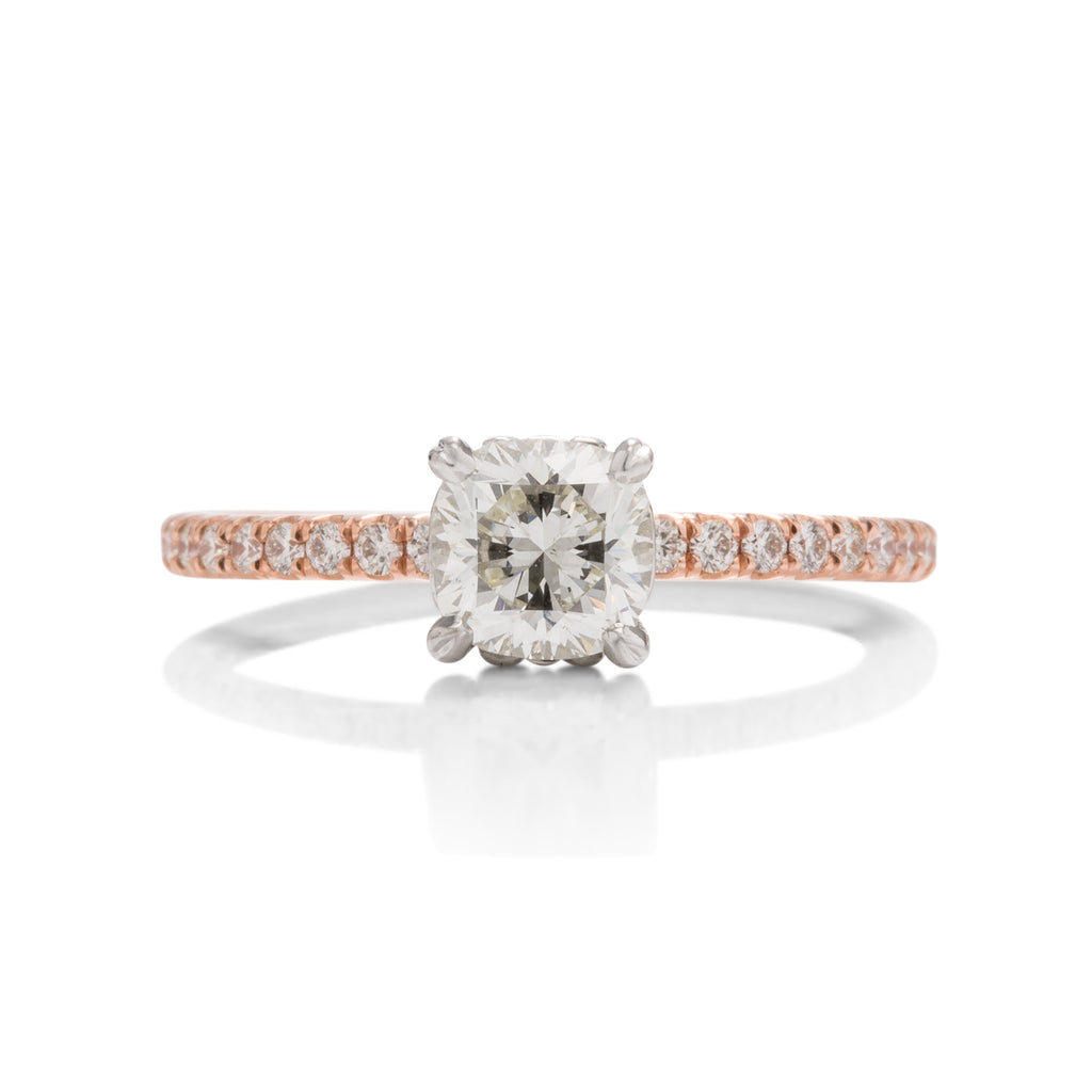 14k Rose Gold Cushion Brilliant Diamond Ring - Charles Koll Jewellers